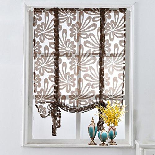 Küche kurz Vorhänge Jacquard floral Fenster Vorhänge Raffrollo Braun BxH 140x160cm