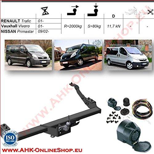 ATTELAGE avec faisceau 13 broches | Nissan Primastar / Opel Vivaro / Renault Trafic de 2002- / crochet démontable avec outils