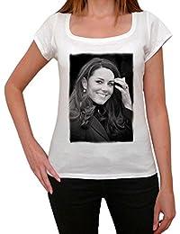 Kate Middleton, tee shirt femme, imprimé célébrité,Blanc, t shirt femme,cadeau