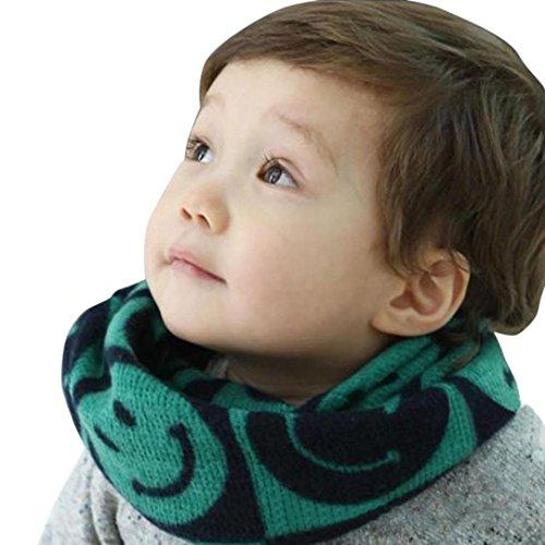 FEITONG autunno-inverno ragazzi ragazze bambino sciarpa cotone o anello collo sciarpe (Verde)