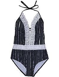 YuanDian Femmes été Décontracté Dentelle Bikini à rayures 1 Pièce Maillots de Bain Halterneck Rembourré Push Up Sexy Natation Costumes De Bain Trikini Monokini Rayures S