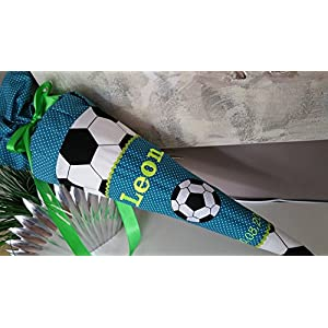 #110 Fussball Petrol neon neongelb Schultüte Stoff + Papprohling + als Kissen verwendbar