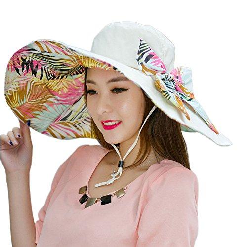 SZTARA Elegant Leaves Sun Hat Large Wide Brim Beach Cap Double-sided Foldable Bowknot Ultraviolet-proof Sunbonnet for Women Holiday Travel Summer Spring Autumn