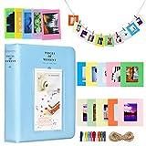 Cpano Colorful Bundle Set Accesorios para Fujifilm Instax Mini Camera, HP Sprocket, Polaroid Zip, Snap, Snap Impreso películas con Etiquetas de película, álbum y Marco.(64 Bolsillos,Azul)