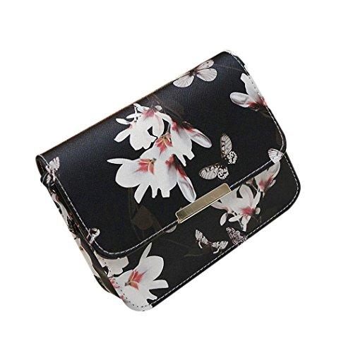 Fami borsa delle donne Stampa floreale Borsa a tracolla 19cm*15cm (BK)