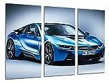 Wandbild - Bild Sportwagen BMW i8blau, 97x 62cm, Holzdruck - XXL Format - Kunstdruck, 26447