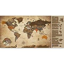 murando - Mapamundi para rascar - Mapa Mundial - 100x50 cm - Vintage - Laminado (Posibilidad de Escribir y borrar) - Mapa para rascar con Banderas - Macionales - k-A-0228-o-b