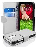 Cadorabo Hülle für LG G2 Mini Hülle in Handyhülle mit Kartenfach aus Struktriertem Kunstleder Case Cover Schutzhülle Etui Tasche Book Klapp Style Magnesium Weiß