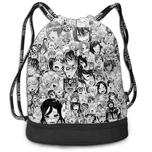 BAOQIN Funny Dance Gift Unisex Drawstring Fashion Beam Backpack Ahegao Print Backpack Travel Gym Tote Cosmetic Bag (Double Tote Zip)