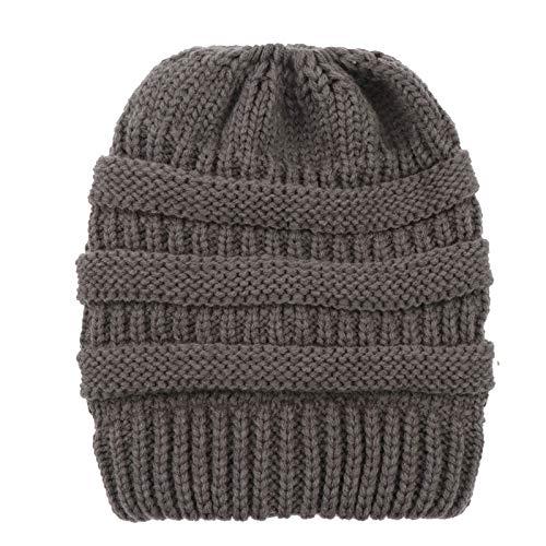 LFEILONG Damen Herbst und Winter Neue Strickpferdeschwanzmützen Wollmützen Kopfmützen Outdoor warm grau 01
