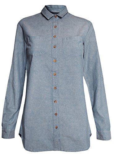 Fat Face Ex Size 6-16 Ladies Blue Denim Chambray Boyfriend Fit Shirt Blouse Top