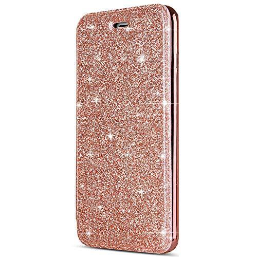 kompatibel mit iPhone 8 Hülle,iPhone 7 Hülle,iPhone 8 Ledertasche,iPhone 7/8 Lederhülle Handyhülle Wallet Brieftasche Flip Tasche Schutzhülle,Bling Glänzend Flip Hülle Handy Tasche Hülle,Rose Gold