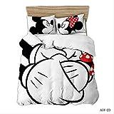 BEDSETAAA Winter Vierteilige Heimtextilien Set Bettbezug Kissenbezug Cartoon Bettwäsche Kinderbettwäsche Home Queen Bed Set 155x215cm Weiß