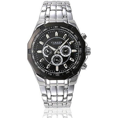 pkaty da uomo Sport esterni, analogico al quarzo in acciaio inox Band Dress orologio da polso argento nero