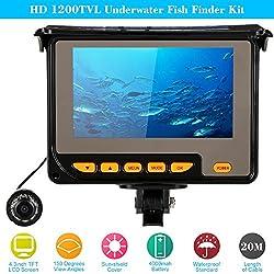 """KKmoon HD 1200TVL Buscador de Pescados Fish Finder Kit con 4.3"""" LCD Monitor + 20M Cámara + 4000mah Batería Recargable Impermeable IR Visión Nocturna para Pesca Hielo/ Mar/Río"""