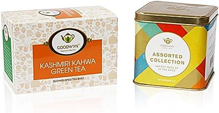 Goodwyn Kashmiri Kahwa Tea, 20 Tea Bags and Assorted Tea Sampler, 20 Tea Bags