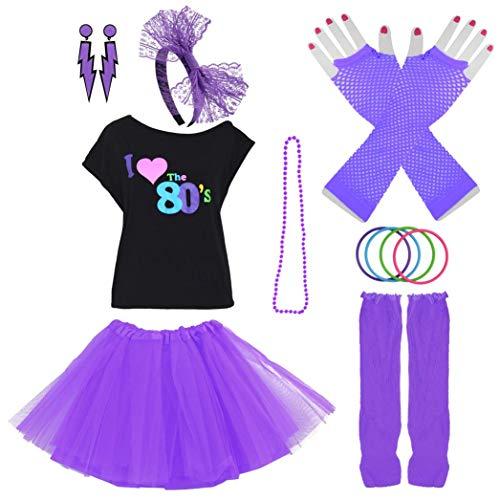 heliltd Frauen 80er Jahre Kostüm Set, 8PCS I Love 80er Jahre Outfit Kleid für 1980er Jahre Thema Party ()