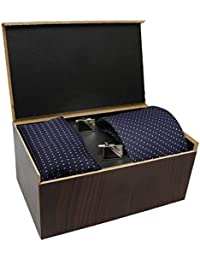 COCO CHANEL Unisex Necktie, Pocket Square and Cufflinks Set (Blue)