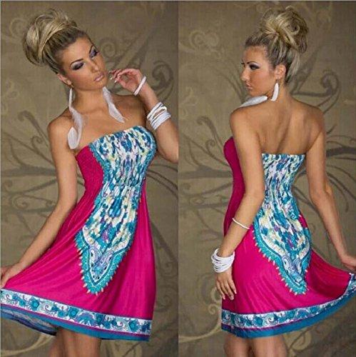 Culater® Frauen Damen sexy trägerlos Böhme blume muster lässig Luxus Mini kleid helle Farbe Hot Pink