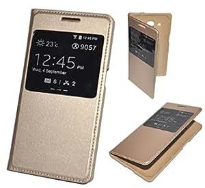 *** Housse Etui Coque Flip Cover View Cache Batterie Doré Gold pour Samsung GALAXY J5