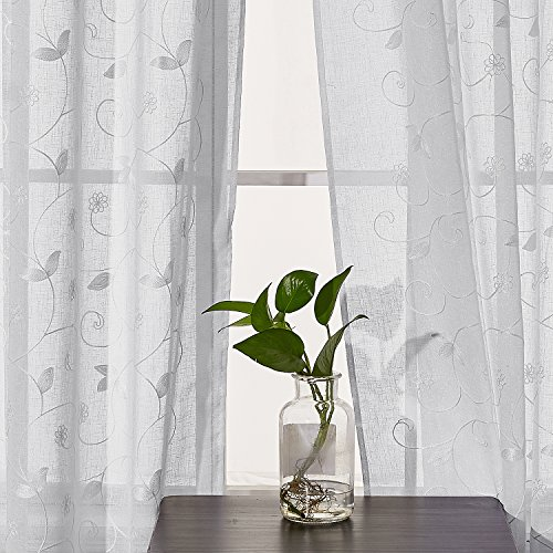 Deconovo ricamo tende con occhielli, tessuto, white-flower, 140x175,2panels