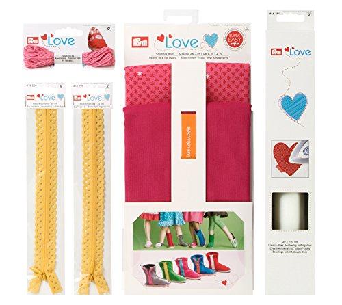 Prym Love 651806 lenzuola a stivaletti - Espadrilles creativo filo, decorazione-cerniere, creativo-in tessuto non tessuto, rosa/Giallo