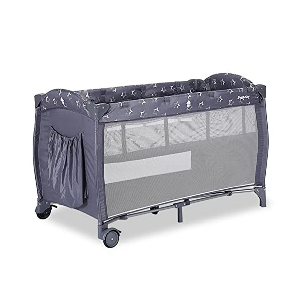 Baby HTTMYY Portable Crib Multifunction Foldable Game/Travel Bed Double Layer Newborns Movable Casters 0-4 Years Old, 001 Baby Size: Expansion size: 125*65*76cm;Folding Size: 80*20*20cm;Product Type: Double Layer Crib Apply 0-4 years old, inner diameter size 120*60cm, large space can be used to four years old, not easy to idle Mobile casters: Easy to move the bed, can be switched brake to prevent movement, safe and convenient stability 1