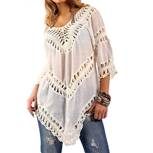 Damen Tunika Hippie Shirt Lochmuster Longshirt Weiß2