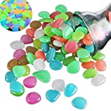 BIPY Deko-Steine, leuchten im Dunkeln, für Durchgang, Garten, Aquarium, farbig, verschiedene Farben, 100 Stück