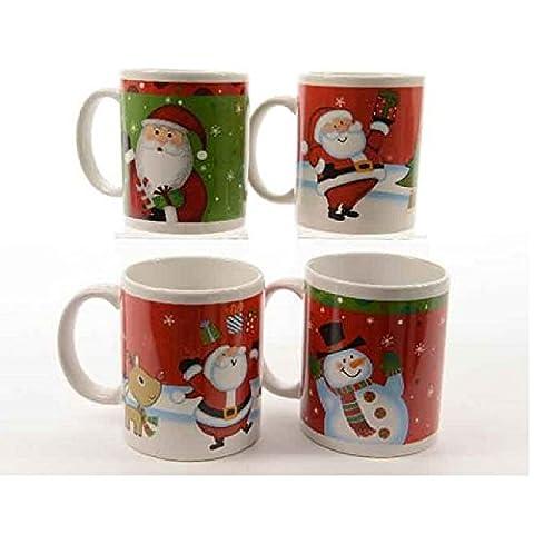 Mug Ceramic Santa Snowman Moose Reindeer Christmas 4Styles Price for 1Each
