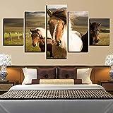 Pferd Tier Moderne Für Malerei Modulare Günstige 5 Stücke Tier Pferd Bild Wandkunst Für Wohnzimmer Wohnkultur Kunstwerk Leinwand Y36-50X25CM-Mit Rahmen