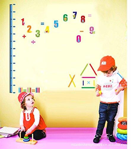 Wandtattoo Messlatte Kinder Primäre Zählungs-Zahlen mit Netten Tieren Entfernbare DIY Vinyl Wand-Aufkleber 60 Bis 180 cm-Tabellierprogramm für Kinderzimmer, Kinder Schlafzimmer, Spielzimmer