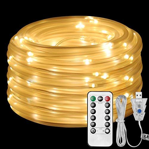 LE 100er LED Lichterschlauch Warmweiß 10M USB 8 Modi mit Memory-Funktion led Lichterschlauch aussen für Innen Außen Party Weihnachten Dekolicht