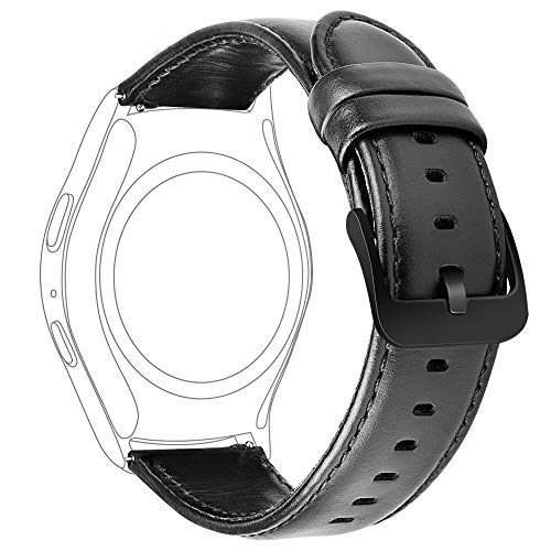 iBazal 20mm Cinturino Pelle Rilascio Rapido Cuoio Bracciale Compatibile con Samsung Galaxy Watch 42mm/Active 40mm/Gear S2 Classic/Sport/Huawei Watch 2/Ticwatch 2/E/Vivomove HR/Amazfit Bip Uomo - Nero