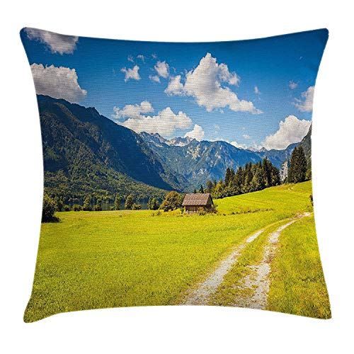 Nature Throw Pillow Cushion Cover by, Julian Alps Mountain Valle Rural with Wooden Country House Paradise Picture, Decorative Square Accent Pillow Case, 18 X 18 Inches, Lime Green Sky Blue