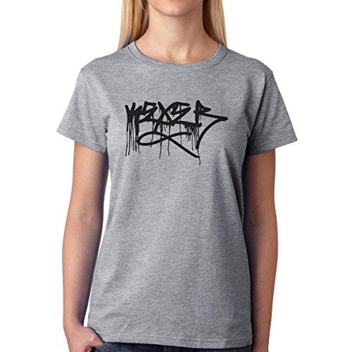 Graffitti Hip Hop Rap Running Black Damen T-Shirt Grau