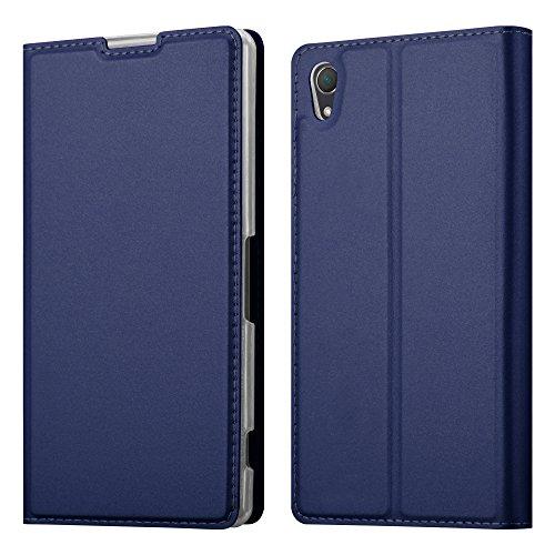 Cadorabo Hülle für Sony Xperia Z2 - Hülle in DUNKEL BLAU – Handyhülle mit Standfunktion und Kartenfach im Metallic Look - Case Cover Schutzhülle Etui Tasche Book Klapp Style