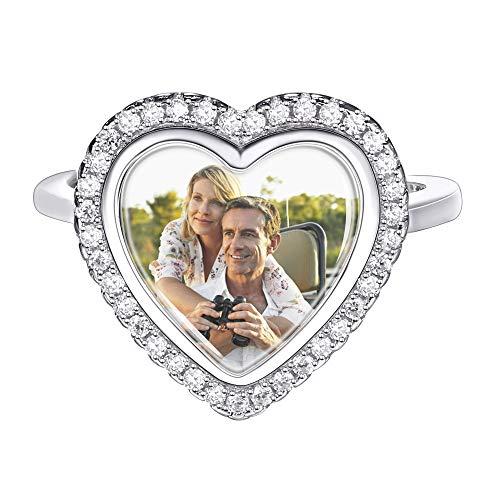 Custom4U Personalisierte Damen Ring mit 3 Buchstaben Gravur, 925 Sterling Silber Geschenkidee für Valentine Jahrestag Geburtstag,Weiß Gold/Gold/Rosegold (Weiß)