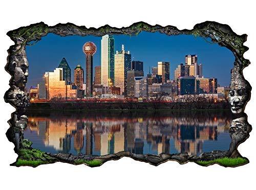 3D Wandtattoo Dallas Skyline USA Stadt Trinity River Wand Aufkleber Wanddurchbruch sticker selbstklebend Wandbild Wandsticker Wohnzimmer 11P013, Wandbild Größe F:ca. 162cmx97cm