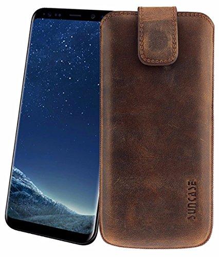 Original Suncase Etui Tasche für Samsung Galaxy S8 | mit ZUSÄTZLICHER Hülle / Schale / Bumper *Lasche mit Rückzugfunktion* Handytasche Ledertasche Schutzhülle Case Hülle in antik-coffee (Coffee Tasche Leder)