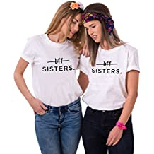 Mejores Amigas Camiseta BFF T-Shirt Best Friend 100% Algodón 2Piezas Impresión Sisters Camisa