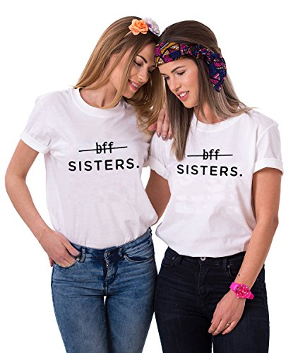 Mejores Amigas Camiseta BFF T-Shirt Best Friend 100% Algodón 2Piezas Impresión Sisters Camisa con Manga Corta Para Mujer Hermana(Blanco+Blanco,M+M)