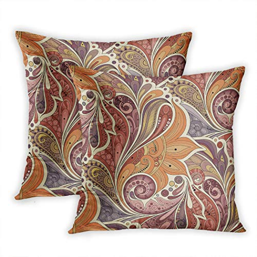 Nekkzi Cushion Covers Set of Two Print Colorful Batik Floral Pattern with Flowers Paisley Garden Style Boho Bohemian Chic Sofa Home Decorative Throw Pillow Cover 16x16 Inch Pillowcase Hidden Zipper - Native Garden Collection