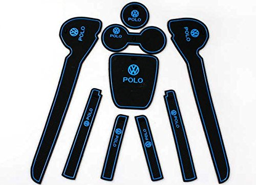 volkswagen-vw-polo-mk5-2011-2014-non-slip-interior-door-bins-mat-cup-holder-rubber-pad-set-blue