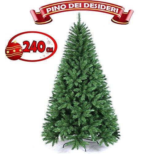 Bakaji albero di natale pino dei desideri 240 centimetri ecologico e ignifugo con base a croce in ferro pieghevole super folto 1315 rami innesto ad uncino colore verde (240 cm)