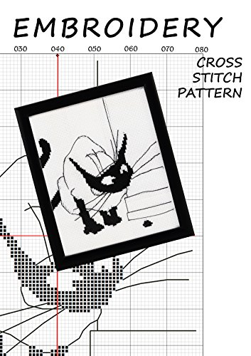 black cat silhouette cross stitch subversive Funny pattern monochrome wall decor minimalist cats art Black and white cross-stitch ... Hand made gifts for men (English Edition) ()