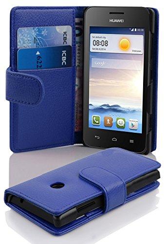 Cadorabo DE-101037 Huawei Ascend Y330 Handyhülle mit Kartenfach aus struktriertem Kunstleder Case Cover Schutzhülle Etui Tasche Book Klapp Style Königs-Blau