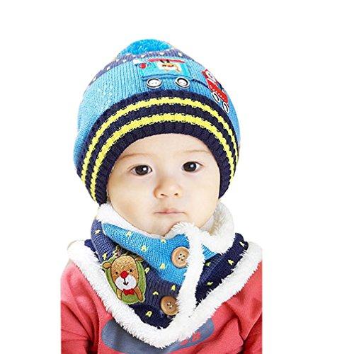 Oyedens Dibujos Animados Bebé Sombreros Sombreros Del Bebé Del Sombrero Del Invierno Del Otoño para El Partido (Azul)
