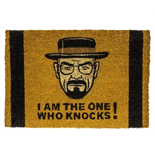 getDigital I am The one who Knocks Nerd Fußabtreter Türvorleger Schmutzfänger Fußmatte aus Kokosfasern, beige, 60 x 40 x 2 cm