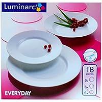 Luminarc Vajilla de cocina Comida Porcelana Every Day 6 personas 18 piezas Nuevo ...